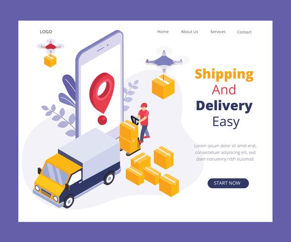 Online Delivery System Isometric Artwork Concept