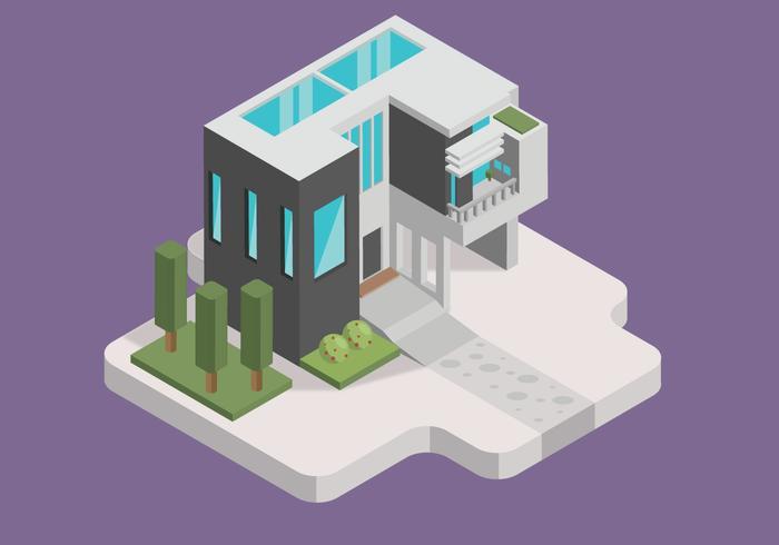 Luxe Minimalitic House isometrische Vector