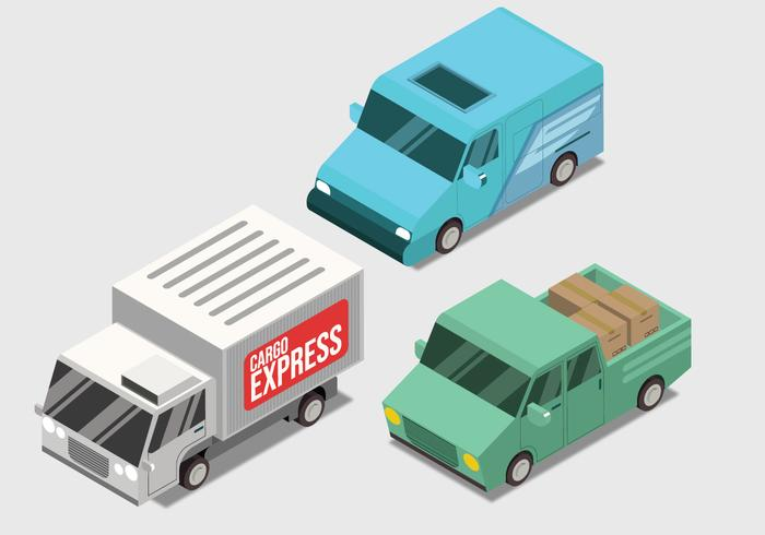 Delivery Transportation Isometric Vector Set