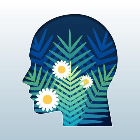 Silhueta da cabeça de um homem com flores