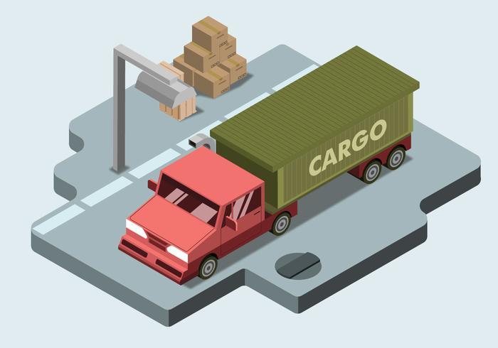 Camion cargo isométrique Vector plate