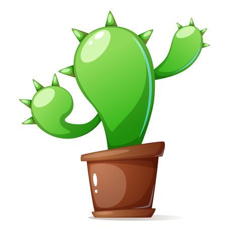 Pot, cactus verde - illustrazione del fumetto.