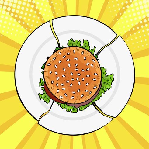 Hamburger op gebroken plaat, zwaar snel voedsel. Dieet en gezond eten. Kleurrijke vectorillustratie in pop-art retro komische stijl