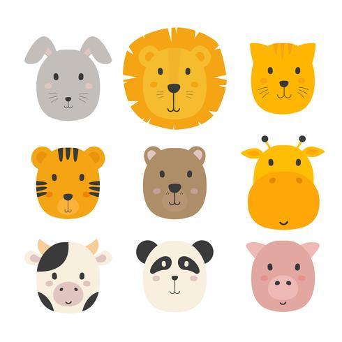 conjunto de rostos de animais vector coleção