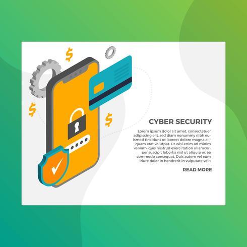Mobiele veilige cyberbeveiligingsillustratie