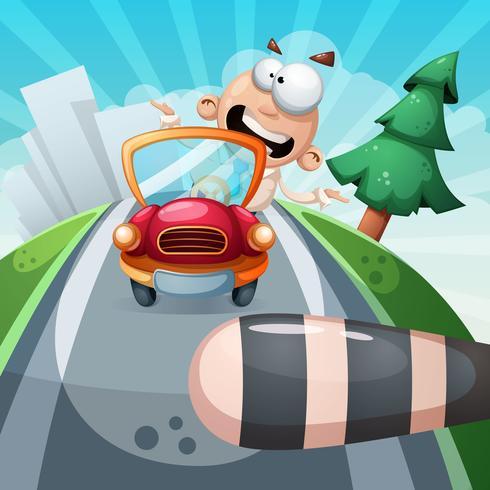 Loco en el coche. Ilustración divertida