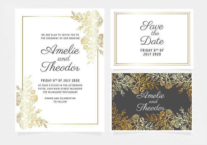 Vector gouden bloemen bruiloft uitnodiging
