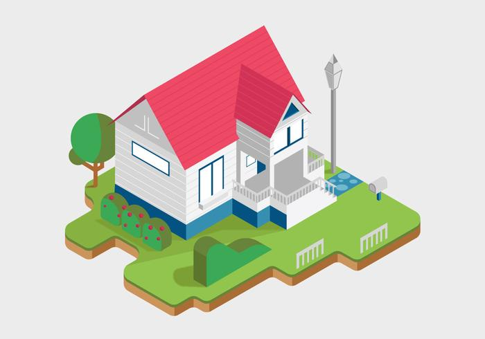 Weiße Häuschenhaus-Vektor-isometrische Illustration