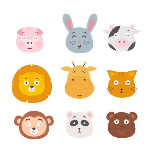 Caras de animales conjunto ilustración vectorial vector