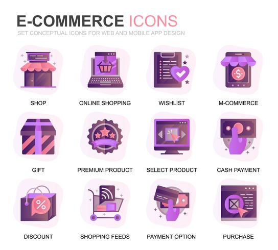 Set moderno icone e-commerce e shopping gradiente piatte per applicazioni web e mobile. Contiene icone come consegna, pagamento, carrello, cliente, negozio. Icona piana di colore concettuale. Pacchetto di pittogrammi vettoriale.