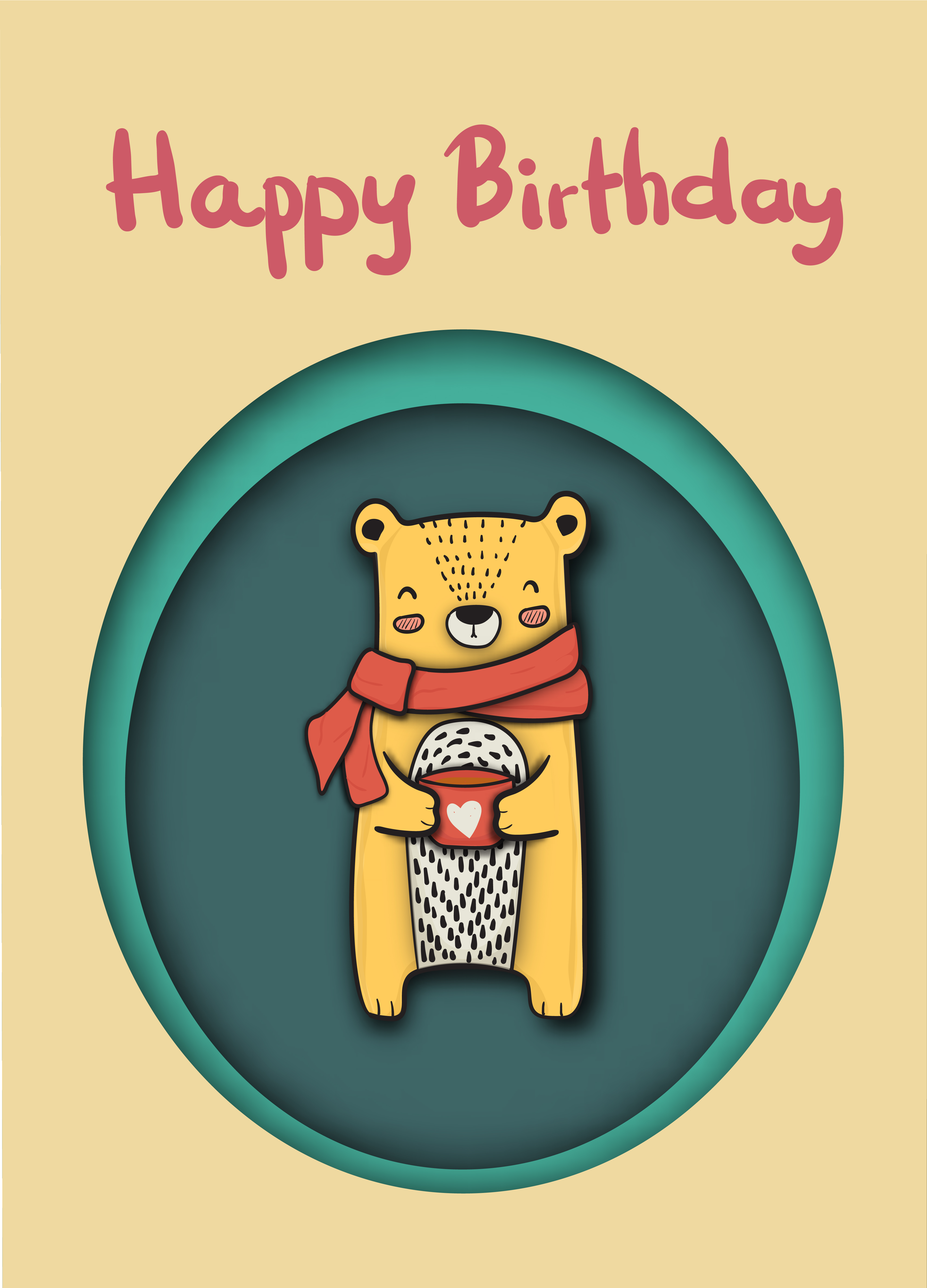 Remarkable Cute Happy Bear Holding Coffee Cup Drawing Paper Cut Happy Personalised Birthday Cards Bromeletsinfo
