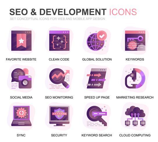Modern Set Seo och Development Gradient Flat Ikoner för webbplats och mobilappar. Innehåller sådana ikoner som ren kod, dataskydd, övervakning. Konceptuell färg plattikon. Vektor piktogram pack.