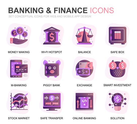 Ensemble moderne de banque et finances icônes de dégradé plat pour site Web et applications mobiles. Contient des icônes telles que Balance, E-Banking, Enchères, Croissance financière. Icône plate couleur conceptuelle. Pack de pictogrammes de vecteur.