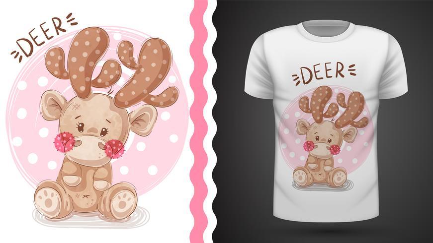 Söt hjort - idé för tryckt-skjorta.