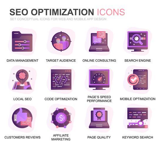 Modern Set Seo et optimisation Web, icônes de dégradé pour sites Web et applications mobiles Contient des icônes telles que Cible, Marketing, Croissance du trafic. Icône plate couleur conceptuelle. Pack de pictogrammes de vecteur.