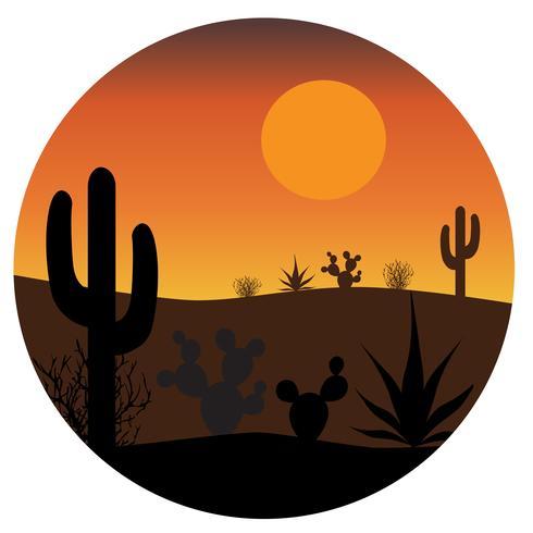 Escena de cactus del desierto en circulo
