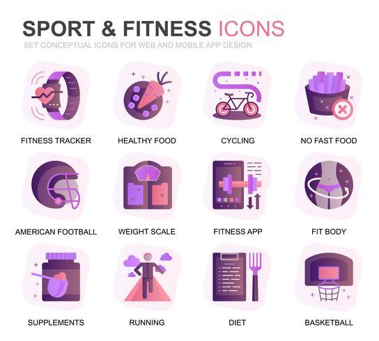 Modern Set Sport et icônes de dégradé plat fitness pour site Web et applications mobiles. Contient des icônes telles que Fit Body, Natation, App Fitness, Suppléments. Icône plate couleur conceptuelle. Pack de pictogrammes de vecteur.