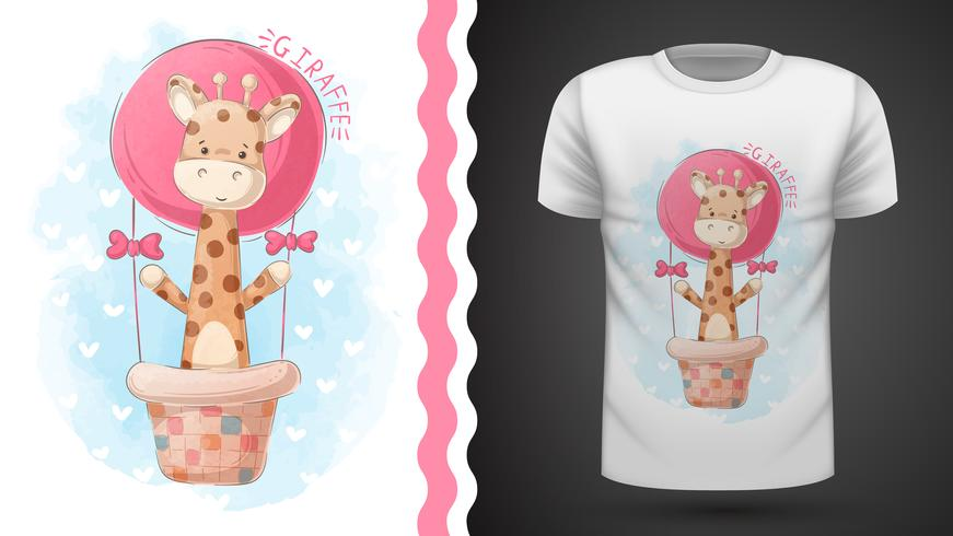 Jirafa y globo aerostático - idea para camiseta estampada