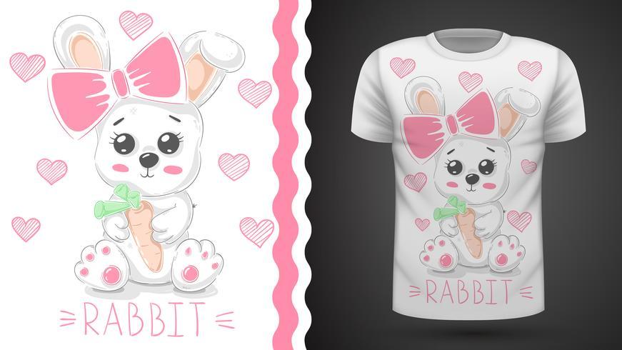 Conejo lindo -idea para camiseta estampada. vector