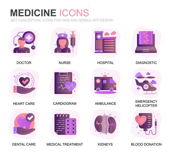 Moderno conjunto de iconos de degradado de atención médica y medicina para sitio web y aplicaciones móviles. Contiene iconos como médico, hospital, equipo médico. Icono plano de color conceptual. Pack de pictogramas vectoriales. vector