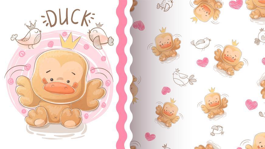 Cute duck - idea for print t-shirt. vector