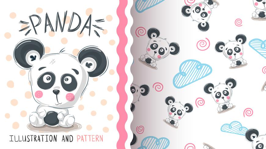 Cute teddy panda - seamless pattern vector
