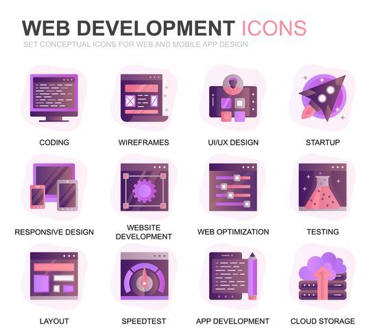 Modern Set Web Design en Development Gradient Flat Icons voor website en mobiele apps. Bevat pictogrammen zoals codering, app-ontwikkeling, bruikbaarheid. Conceptuele kleur platte pictogram. Vector pictogram pack.