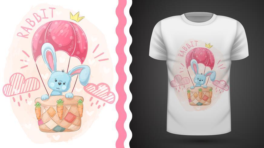 Lindo conejo y globo aerostático - idea para camiseta estampada. vector