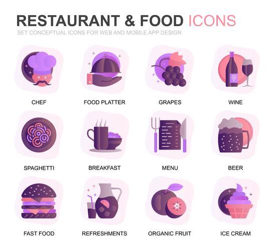 Set di icone piatte per ristoranti e applicazioni mobili. Contiene icone come Fast Food, Menu, frutta biologica, Coffee Bar. Icona piana di colore concettuale. Pacchetto di pittogrammi vettoriale.