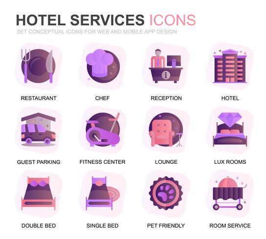 Icone piane di gradiente di servizio moderno Set Hotel per applicazioni Web e mobili. Contiene icone come ristorante, servizi in camera, reception. Icona piana di colore concettuale. Pacchetto di pittogrammi vettoriale.