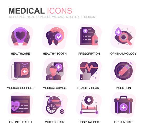 Modern Set Healthcare y Medical Gradient Flat Icons para aplicaciones web y móviles. Contiene iconos como ambulancia, primeros auxilios, investigación, hospital. Icono plano de color conceptual. Pack de pictogramas vectoriales.