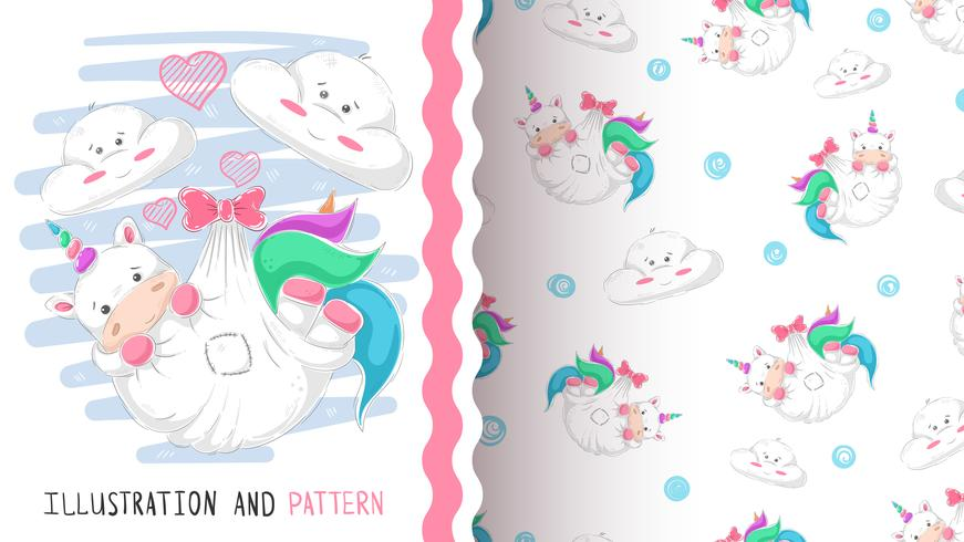 Cute love unicorn - seamless pattern.