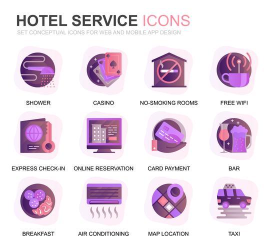 Modern Set Hotel Services Gradient Flat Ikoner för Webbsida och Mobila Apps. Innehåller sådana ikoner som bagage, mottagning, rumsservice, fitnesscenter. Konceptuell färg plattikon. Vektor piktogram pack.