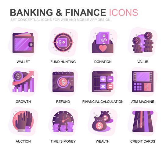 Moderne set Bankieren en Financiën Verloop plat pictogrammen voor website en mobiele apps. Bevat pictogrammen zoals saldo, e-bankieren, veilingen, financiële groei. Conceptuele kleur platte pictogram. Vector pictogram pack.