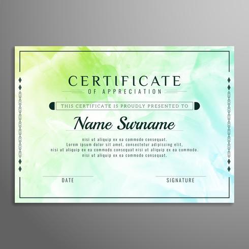 Modèle d'aquarelle de certificat abstrait