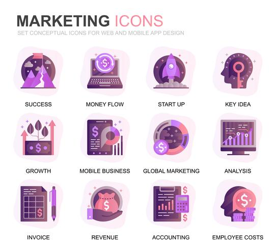 Modern Set Business and Marketing Gradient Flat Icons for Website and Mobile Apps. Contains such Icons as Vision, Mission, Planning, Market. Conceptual color flat icon. Vector pictogram pack.