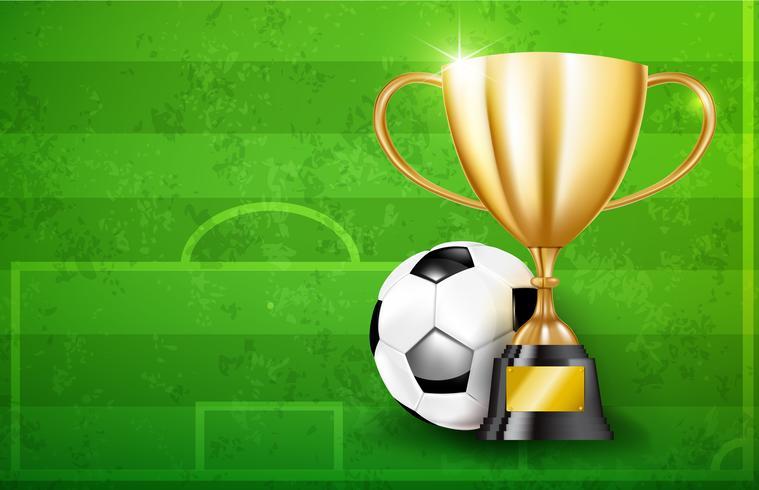 Copos de troféu de ouro e bola de futebol 002