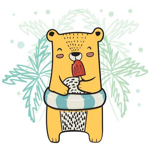 dibujo lindo oso amarillo con anillo de vida que tiene helado de paleta de fresa en el horario de verano