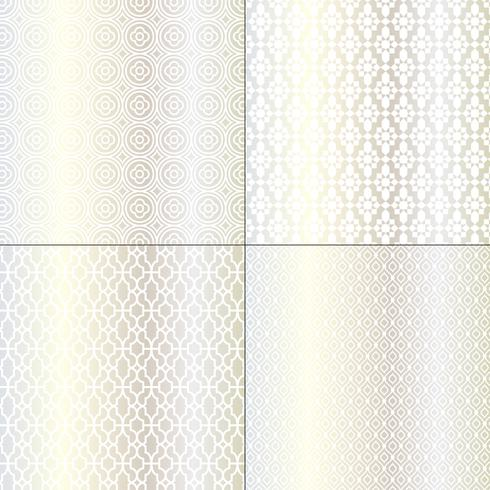 prata metálica e padrões marroquinos brancos