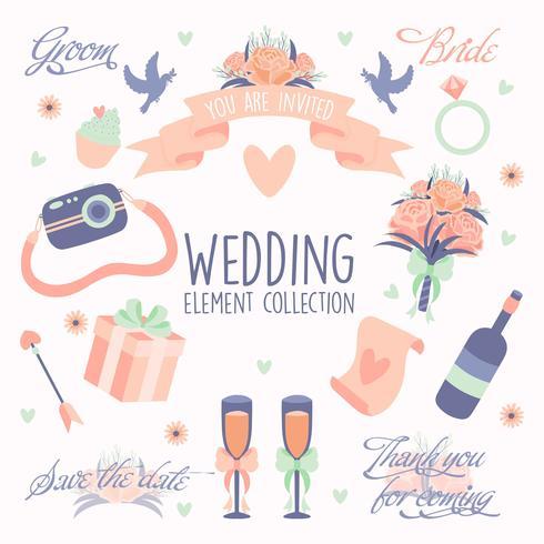 Dibujado a mano doodle amor conjunto de iconos de elementos de boda vector