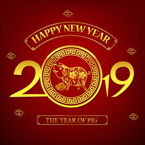 Happy new year 2019 chinese art style pig 001 vector