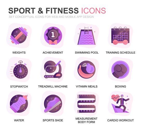 Modernes Set für Sport- und Fitness-Farbverlaufs-Icons für Website und Mobile Apps. Enthält Symbole wie Fit Body, Schwimmen, Fitness-App, Ergänzungen. Konzeptionelle Farbe flach Symbol. Vektor-Piktogramm-Pack