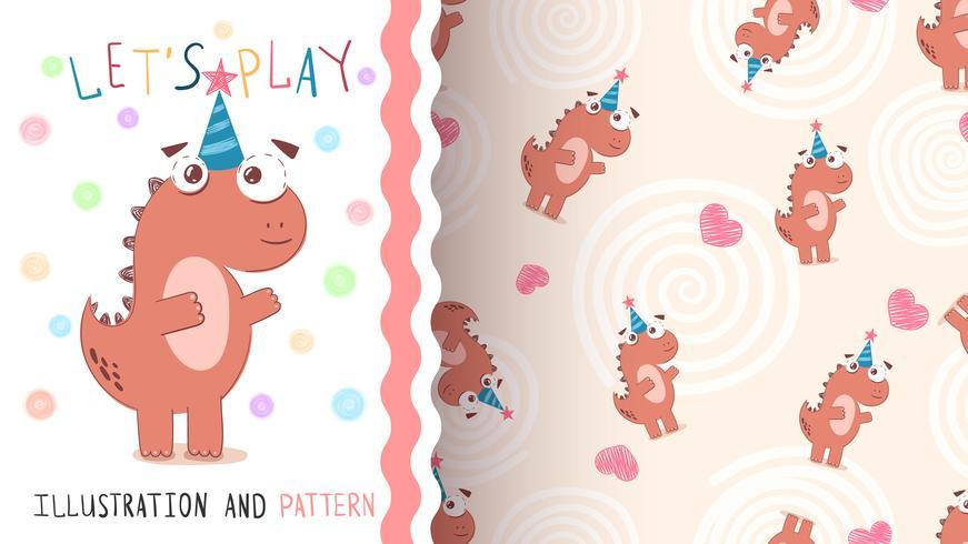 Feliz cumpleaños dinosaurio - patrón transparente