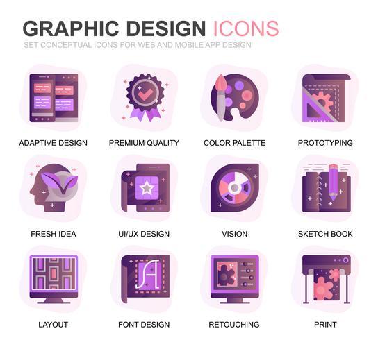 Modern Set Web och grafisk design Gradient Flat Ikoner för webbplats och mobilappar. Innehåller sådana ikoner som Studio, Verktyg, Apputveckling, Retuschering. Konceptuell färg plattikon. Vektor piktogram pack.
