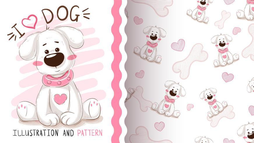 Cute dog, puppy - seamless pattern
