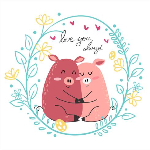 cute drawing couple pink pig lover hug together vector