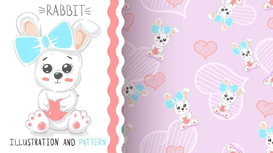 Conejo lindo con el corazón - patrón transparente