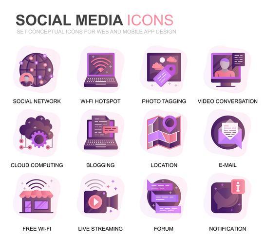 Moderno conjunto Social Media e rede gradiente plana ícones para site e aplicativos móveis. Contém ícones como Avatar, Emoji, Bate-papo, Gosta. Ícone plana de cor conceitual. Pacote de pictograma de vetor.