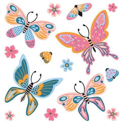 Adorno de acuarela Mariposas, insectos, hojas y elementos de flores. vector
