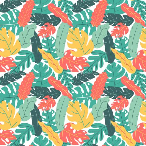 summer and autumn color tropical leaf hand drawing pattern seamless